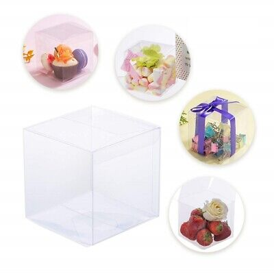 25/50/100 Pcs Square Cube Clear PVC Plastic Cake Wedding Favor Gift Candy Boxes - Cake Favor Boxes