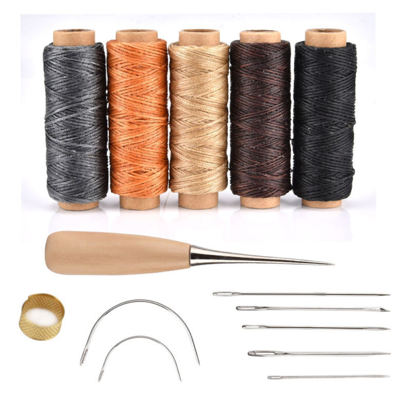 Leather Sewing Tools Punch Hand Carving Sewing Tool Thread Awl Thimble Ki 1 Set