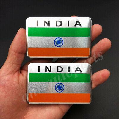 2x Aluminum India Indian Flag Car Emblem Badge Motorcycle Sticker Decals Fairing