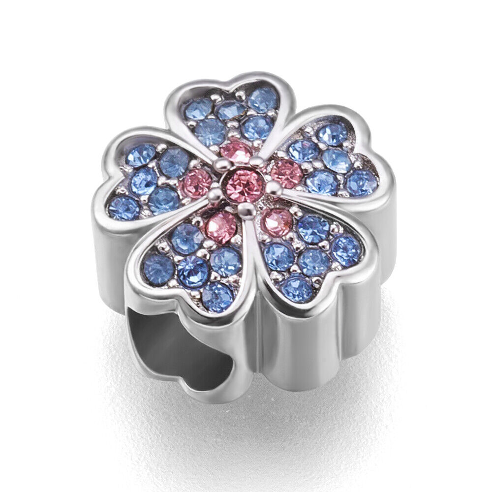 stainless steel cherry blossom flower european beads