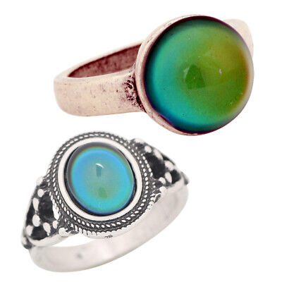 Girls Friendship Best Gift Small Silver Change Color Mood Stone Rings Size