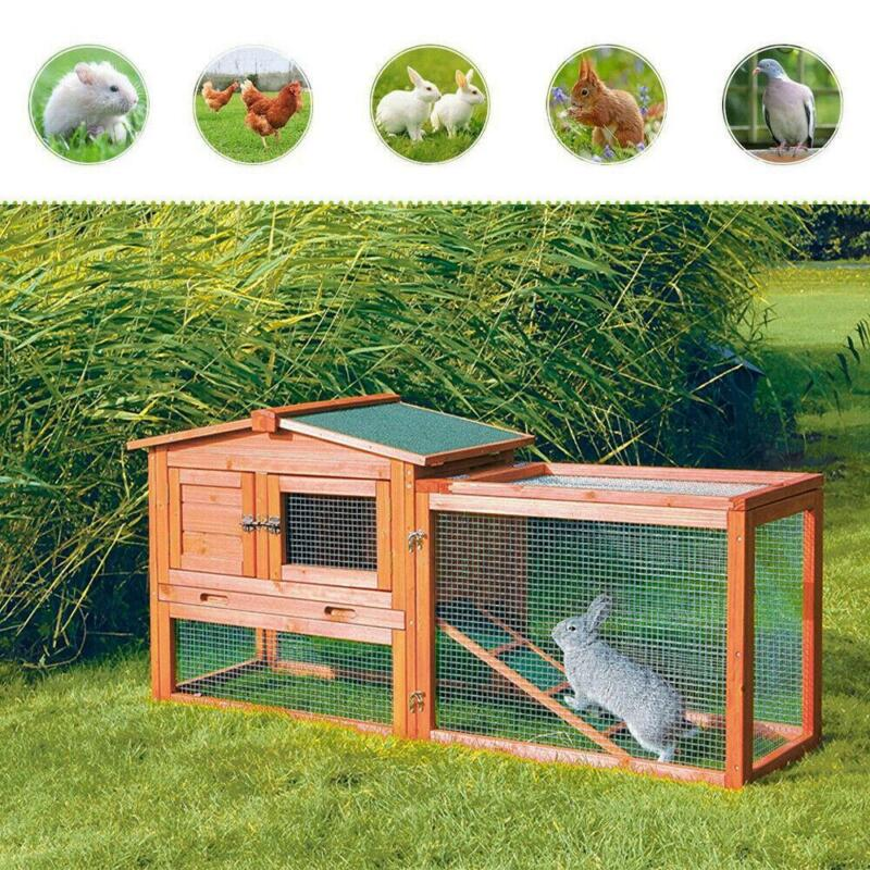 """61""""Wooden Rabbit Hutch Cage Chicken Coop House Bunny Hen Pet Animal Natural Wood"""