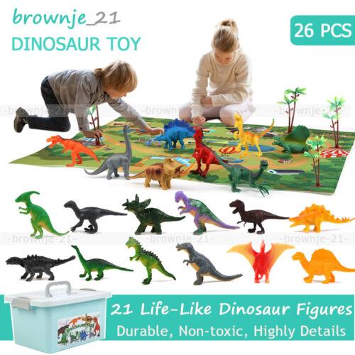 26tlg Dinosaurier schleich Figuren Set Groß Mini Dinos Kinder Spielzeug mit Box