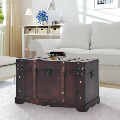 Steamer Trunk Wood Storage Wooden Treasure Chest Coffee Table Large Mocha Decor ()
