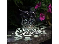 Solar Powered Metal Owl Decorative Garden Ornament NEW & Boxed