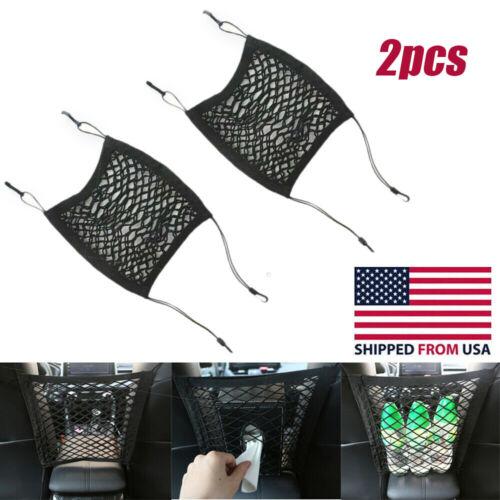 2Pcs Car Seat Side Net Organizer Storage Elastic Pocket Luggage Hook Holder Car & Truck Parts