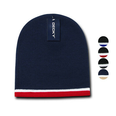 Decky Double Striped 3 Tone Beanies Knitted Ski Skull Winter Caps Hats