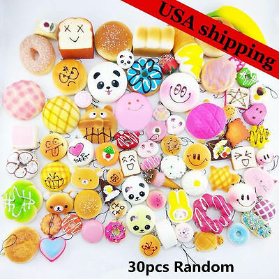 30pack Panda Bread Cake Buns Random Squishies Mini Medium Jumbo Cellphone Straps
