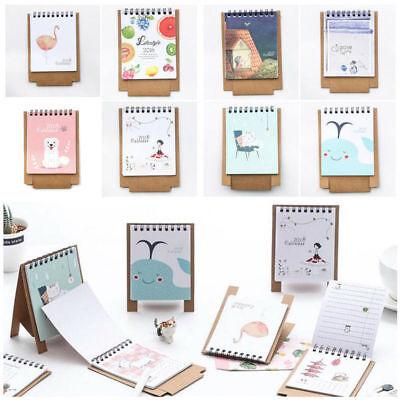 New 2018 Cartoon Mini Desktop Calendar Flip Stand Table Office Schedules Planner