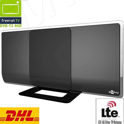 DVB-T2 Aktive Antenne 42dB mit Netzteil, Full HD, DAB, LTE Filter Zimmerantenne