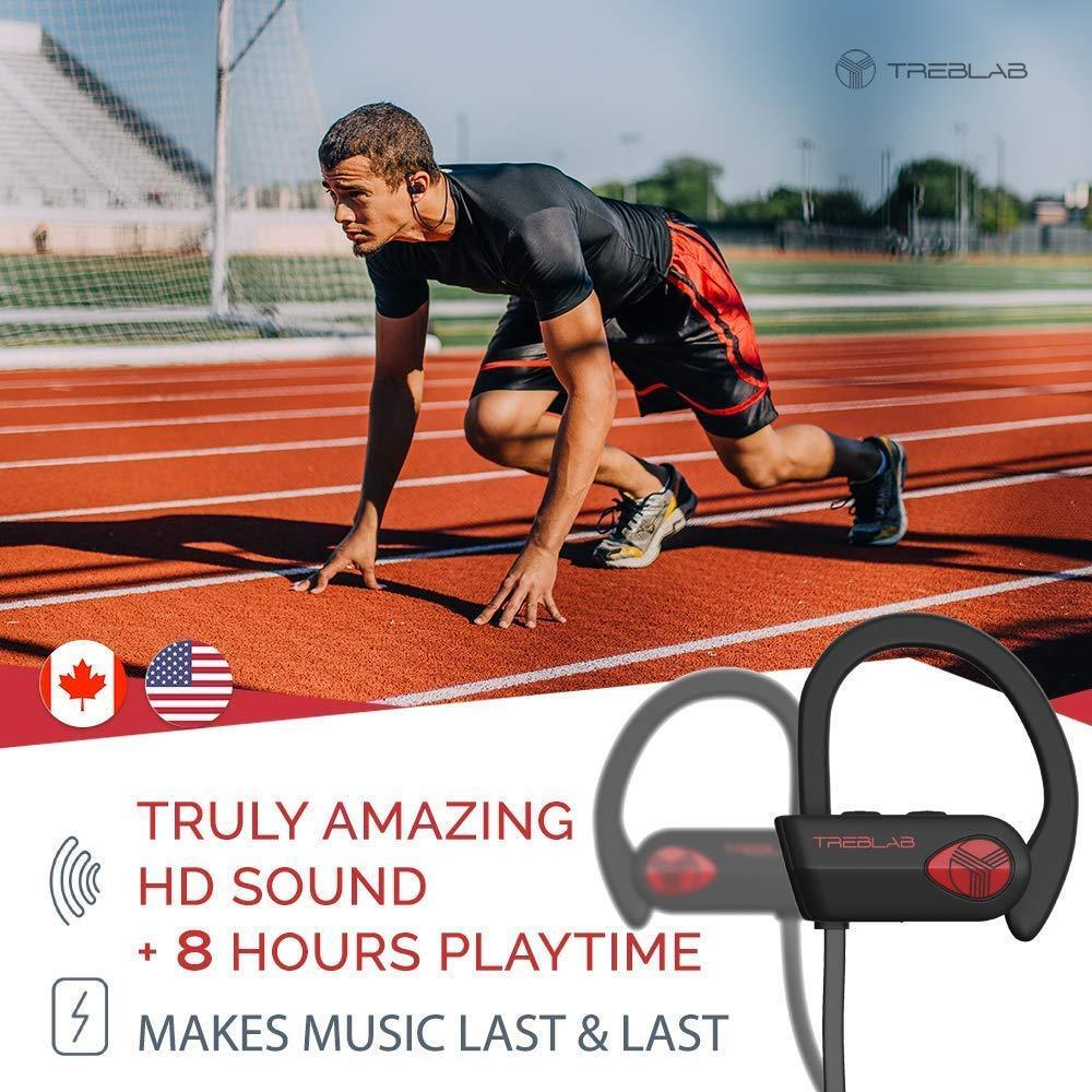 TREBLAB XR500 Bluetooth Headphones Best Wireless Sports Earbuds IPX7 Waterproof