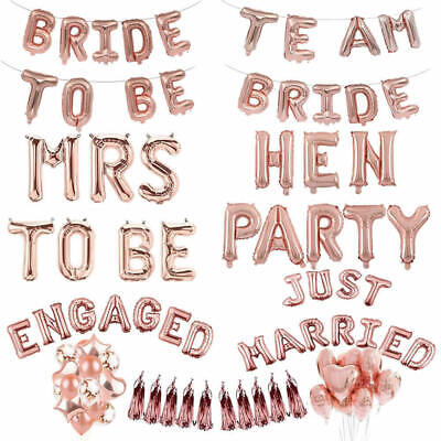 16'' Team Bride To Be Foil Letter Balloon Banner Bachelorette Weddin Party Decor (Bride To Be Banner)