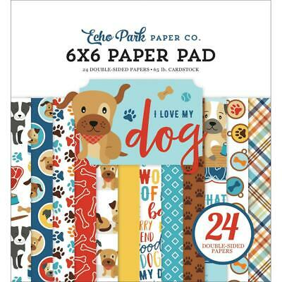 Scrapbooking Crafts 6X6 Paper EP I Love My Dog Paw Prints Bones Plaid Woof Food Plaid Scrapbooking Paper