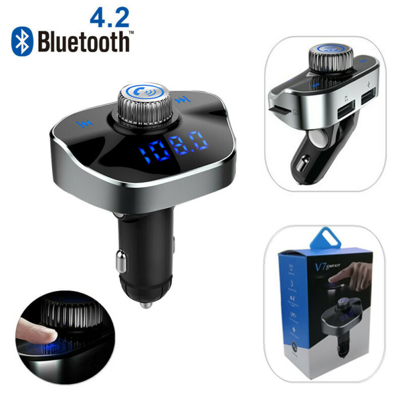 Bluetooth Car FM Transmitter Wireless Radio Adapter MP3 Player 3.4A USB charger