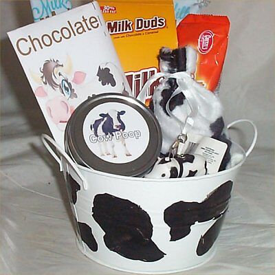 Cow Gift Basket Hot Chocolate Key Chain Spotted  Bag Hard Candy Tails Milk Duds  Hard Candy Basket
