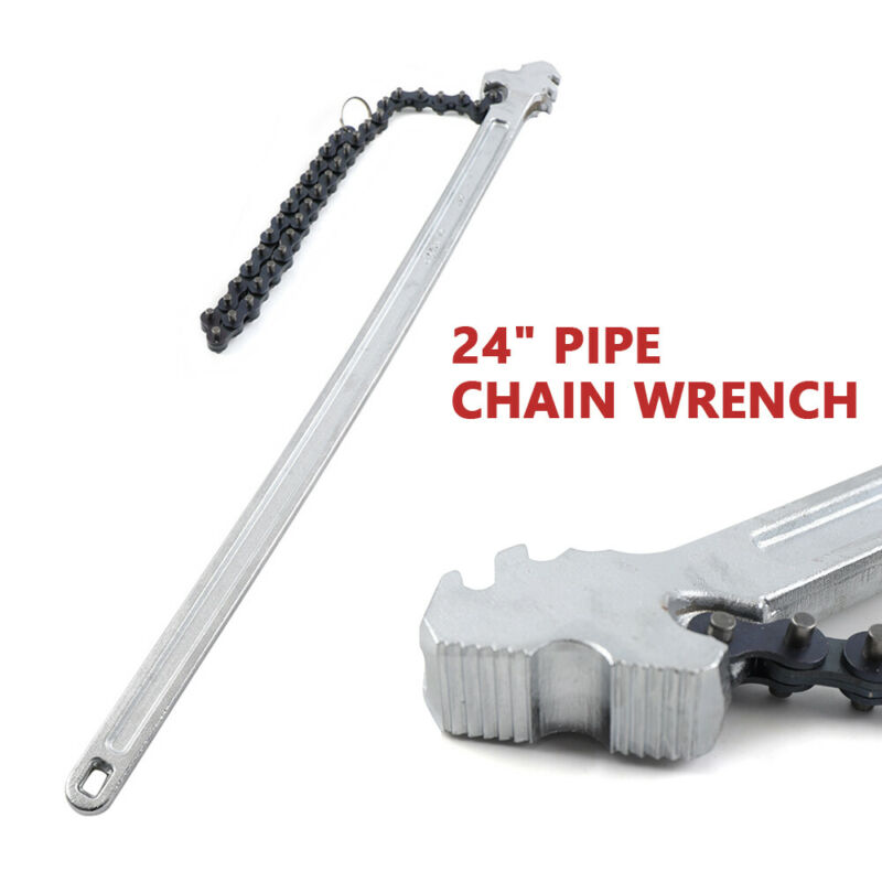 "Wide Range of 6.7""Diameter Pipe Chain 24""Handle Heavy Duty Chain Wrench New!"