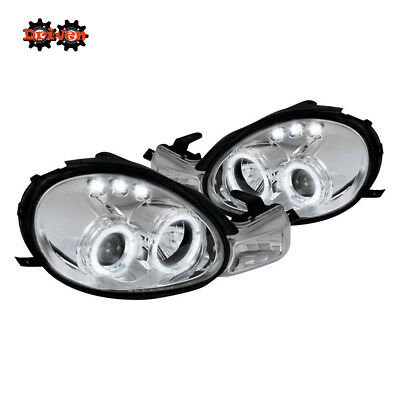 For 00-02 Dodge Neon Dual Halo Projector Headlights LED Chrome Housing Clear DRL Dodge Neon Headlamp Assembly