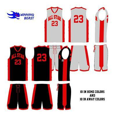 f5ac9b645d8 BASKETBALL UNIFORMS PACKAGE IN HOME AND AWAY COLORS - 9 TO 10 YEARS OLD  PLAYERS