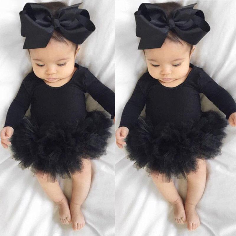 Newborn Baby Girl Long Sleeve Tulle Tutu Romper Jumpsuit Kid