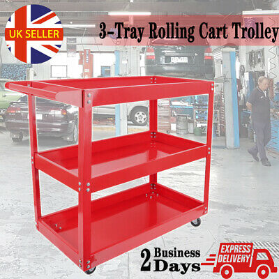Heavy Duty Tool Storage Cart Rolling Wheel Utility Trolley Garage Workshop UK