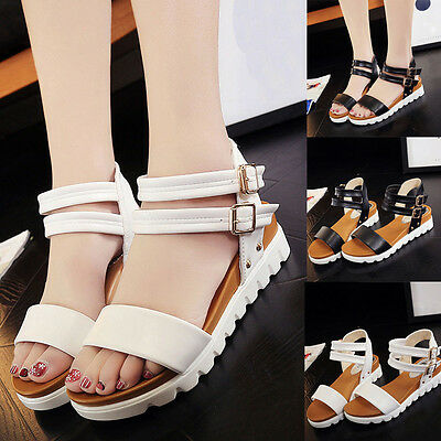 Fashion Women Simple Sandals Leather Soft Flat Ladies Platform Wedge CasualShoes