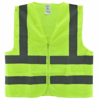 Mesh High Visibility Neon Green Zipper Front Safety Vest With Strips Medium