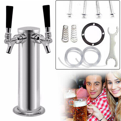 Double Tap Stainless Steel Tower Kegerator Conversion Kit Draft Beer Tower Bar