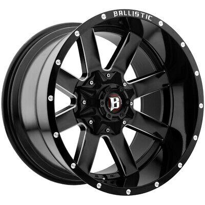 "4-20"" Inch Ballistic 959 Rage 20x12 6x135/6x5.5"" -44mm Black/Milled Wheels Rims, used for sale  Avon"