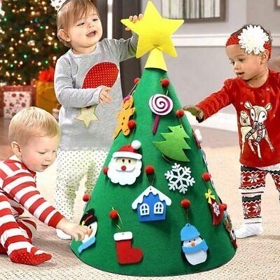 Albero di Natale Giocattolo per Bambini in Feltro con 15 Addobbi Natalizi 70 cm