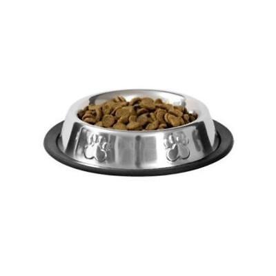 (NO TIP Stainless Steel Food Water Bowl Dog Cat Pet 6 Oz NON SKID Dish )