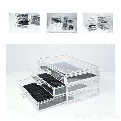 Unique Home Acrylic Jewelry And Cosmetic Storage Makeup Organizer 4 Piece Set