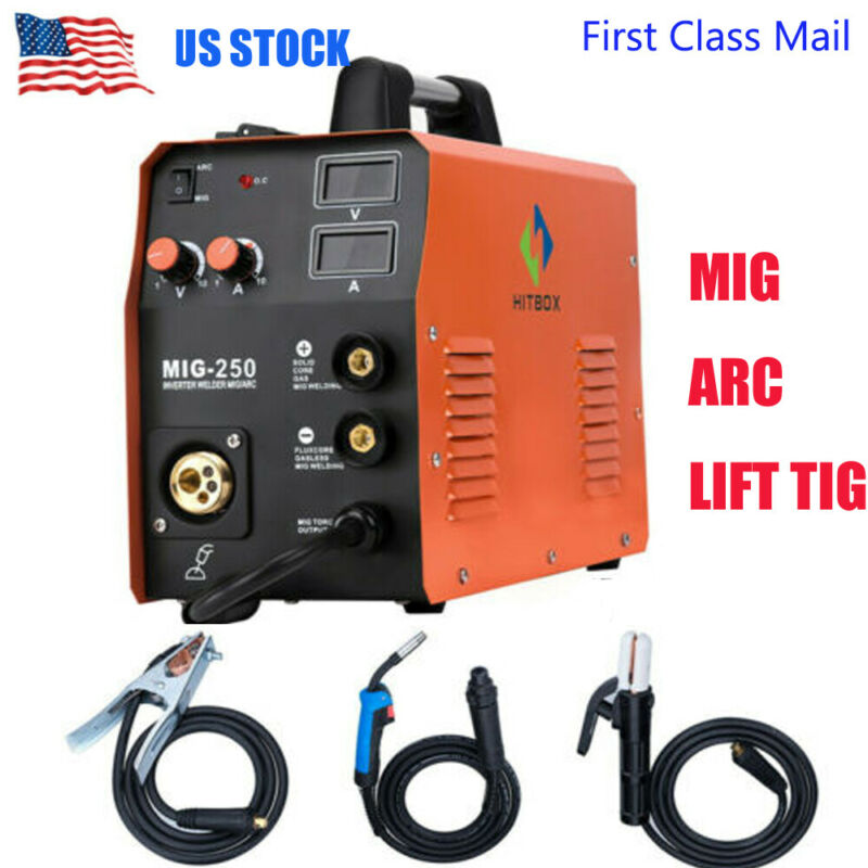 HITBOX MIG250 MMA Lift TIG MIG Welding Machine Gas Gasless Stick Welders 3 IN 1