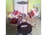 Ashton Fusion Drum kit (5 Piece) w/drumsticks Rare Colour