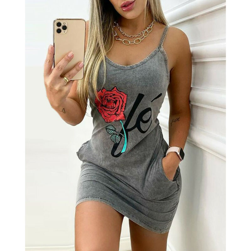 Women Floral Printed Bodycon Slip Mini Dress Summer Sexy Casual Pocket Sundress Clothing, Shoes & Accessories