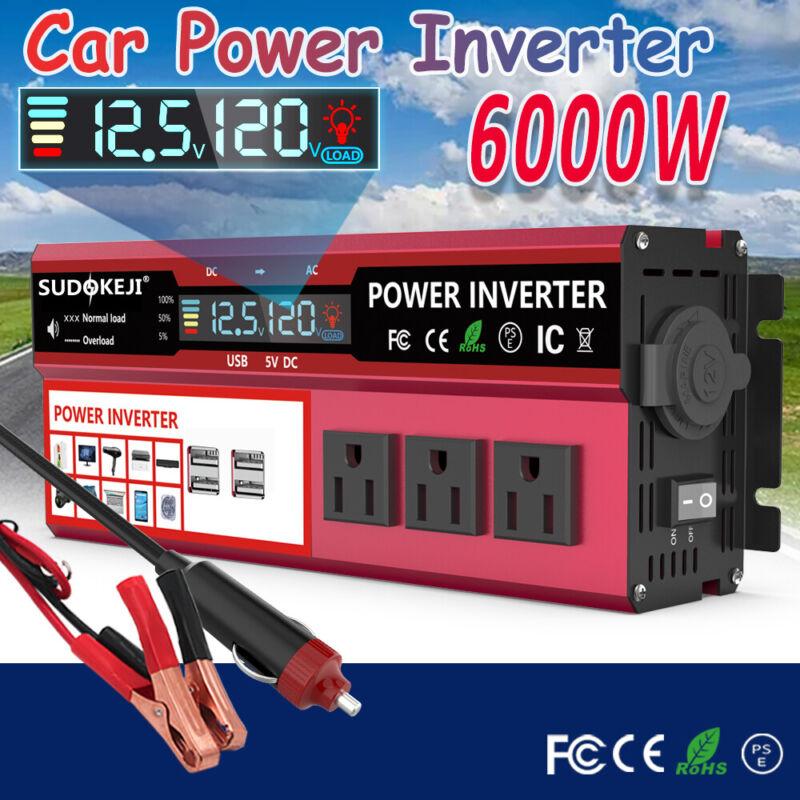 6000W Peak Car Power Inverter 12V DC To AC 110V 120V Converter LCD 4USB Charger