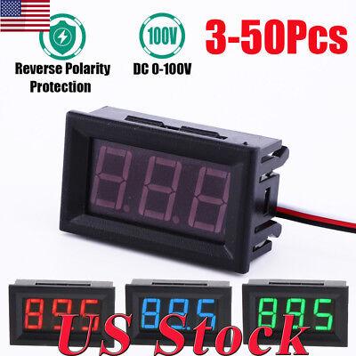 3-50pcs Mini Red Blue Green Led Dc 100v Voltmeter Gauge Volt Panel Meter Display
