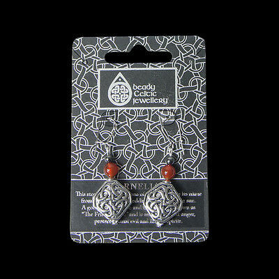 Welsh Pewter  Celtic Spangle and carnelian beads  and Sterling Silver Ear wires
