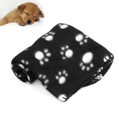 Black Paw Print Soft Handcraft Warm Pet Puppy Dog Cat Fleece Blanket Mat Cover