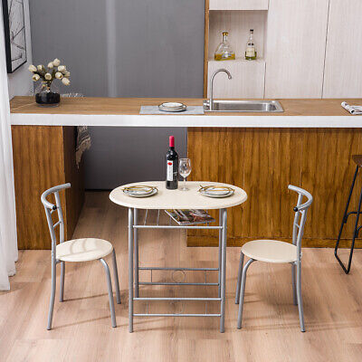 Metal Dining Set Breakfast Table & 2 Chairs Kitchen Room Garden Furniture White Breakfast Nook Dining Table