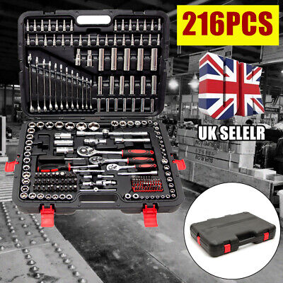 "Professional 216 Pcs Ratchet Spanner Socket Set 1/2"" 1/4"" 3/8"" Tool Kit Toolbox"