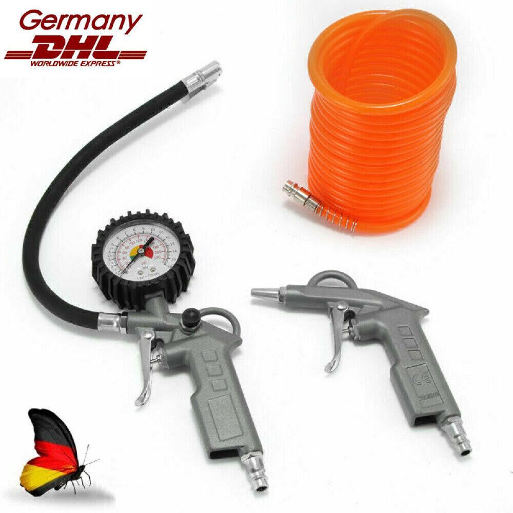 Druckluft-Set 3tlg Reifenfüller Schlauch Ausblaspistole Kompressor Zubehör Druck