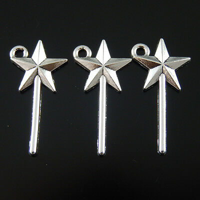 60pcs Vintage Silver Alloy Star Magic Wand Pendants Charms Fashion Jewelry 39104 - Star Wands Wholesale