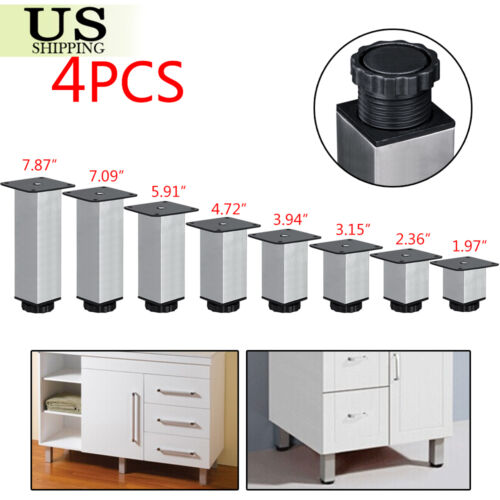 Adjustable Kitchen Cabinet Legs: 4x Stainless Steel Square Plinth Leg Feet Cabinet Kitchen