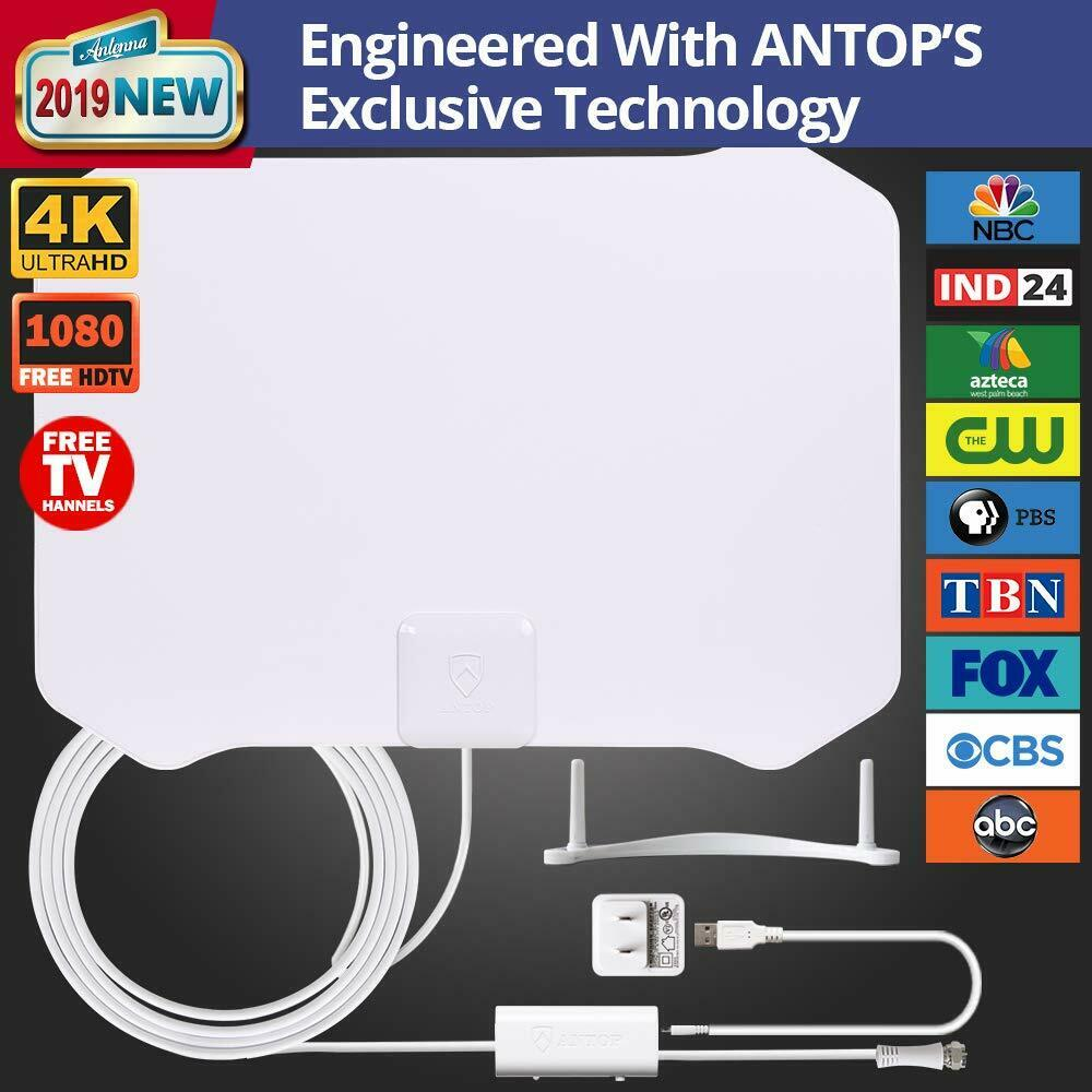 ANTOP 50 Miles Indoor Amplified TV Antenna With 10ft Coaxial Cable - $29.99