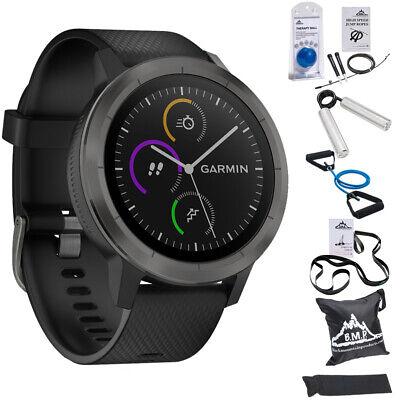 Garmin Vivoactive 3 GPS Fitness Smartwatch (Black) w/ 7 Pcs Workout Bundle