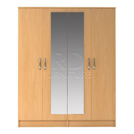 Classic 4 door mirrored wardrobe beech effect