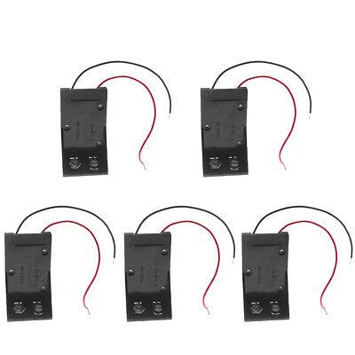 5sets 2 Wires Dc 9v Cell Volt Battery Storage Clip Holder Box Case Cover Stock