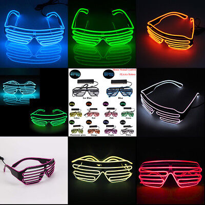 Led Light Up Costumes (Clubbing LED Light Up Sunglasses Music Sound Control Costume Rave Cosplay)