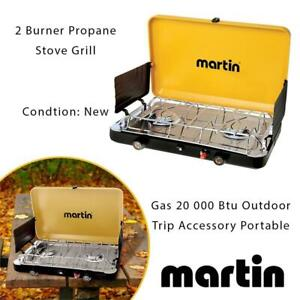 NEW 2 Burner Propane Stove Grill Gas 20 000 Btu Outdoor Trip Accessory Portable Condtion: New