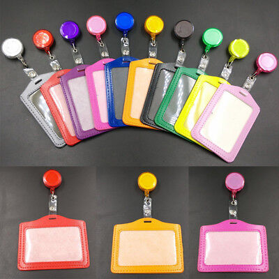 Badge Photo Id Name Card Pass Holder Case With Retractable Badge Reel Office Lot
